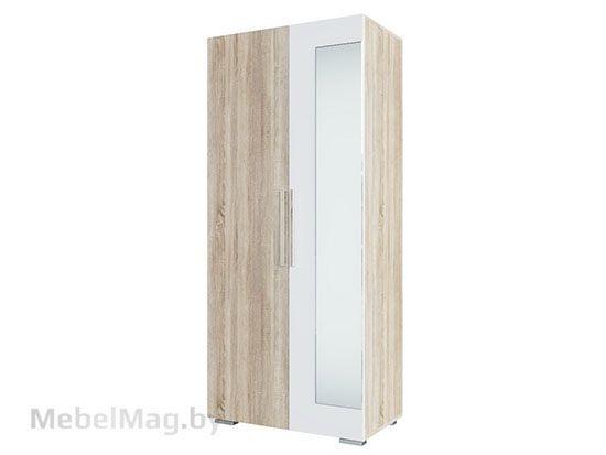 Шкаф двухстворчатый Дуб Сонома/Белый Глянец - Коллекция Грей