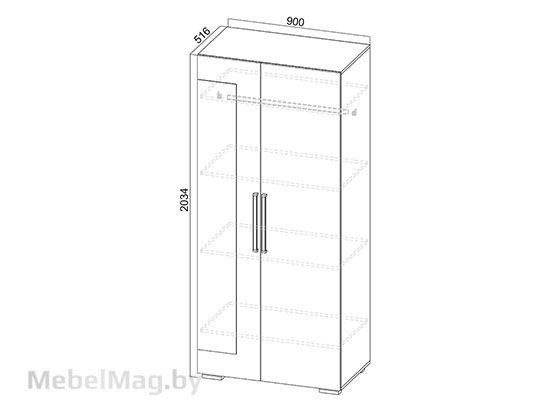 Шкаф двухстворчатый Дуб Сонома/Белый Глянец - Коллекция Лагуна 2