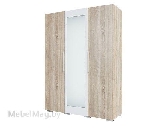 Шкаф трехстворчатый Дуб Сонома/Белый Глянец - Коллекция Грей