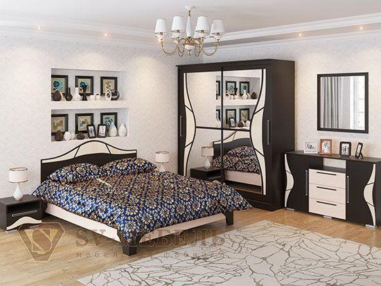 Кровать двойная 1,6x2,0 Дуб венге/Дуб млечный - Коллекция Лагуна 5