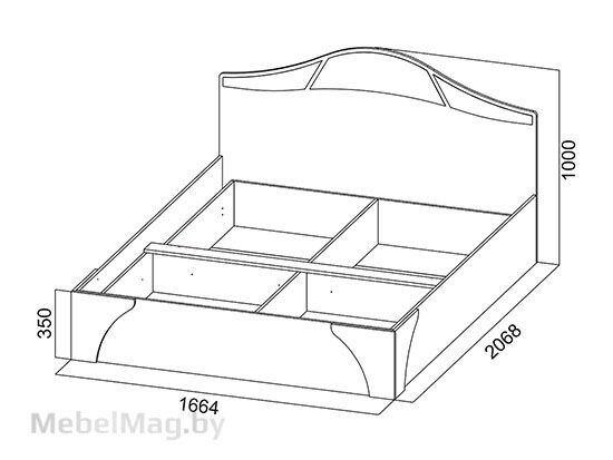Кровать двойная №2 1,6x2,0 Дуб венге/Дуб млечный - Коллекция Лагуна 5