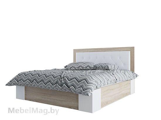 Кровать двойная Универ-ая 1,6*2,0 Дуб Сонома/Жемчуг - Коллекция Лагуна 6
