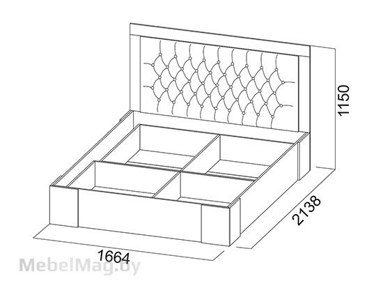 Кровать двойная Универ-ая 1,6x2,0 Дуб Сонома/Жемчуг - Лагуна 6