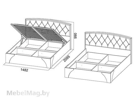 Кровать двойная со страз. без мат. 1,4x2 Ясень шимо/Жемчуг - Лагуна 7