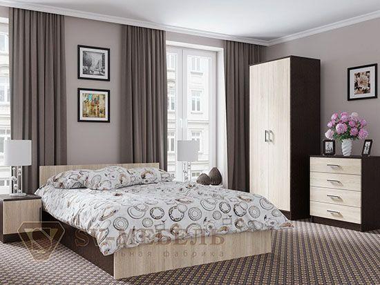 Кровать двойная 1,4x2,0 Дуб Венге/ Сонома - Коллекция Эдем 5