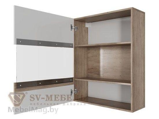 Шкаф навесной горизонтальный 700 Каньон св./Белый глянец - Ницца