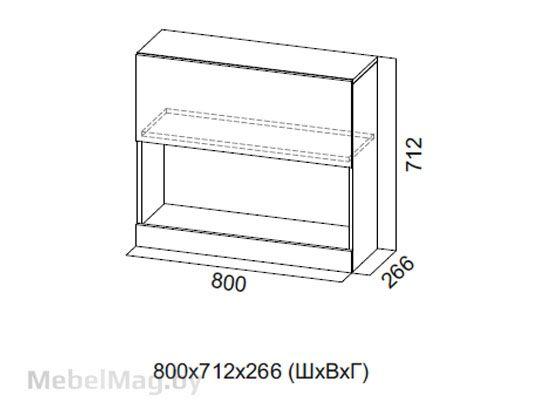 Шкаф навесной гориз. 800 Галифакс табак/Белый глянец - Коллекция Ницца