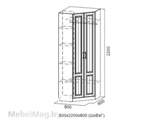 Шкаф угловой Дуб Сонома/Лиственница светлая - Коллекция Прованс 1