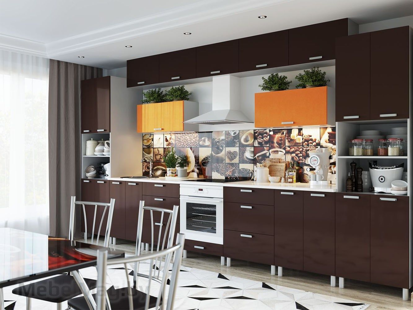 Кухня Модерн - Горький шоколад/Оранж