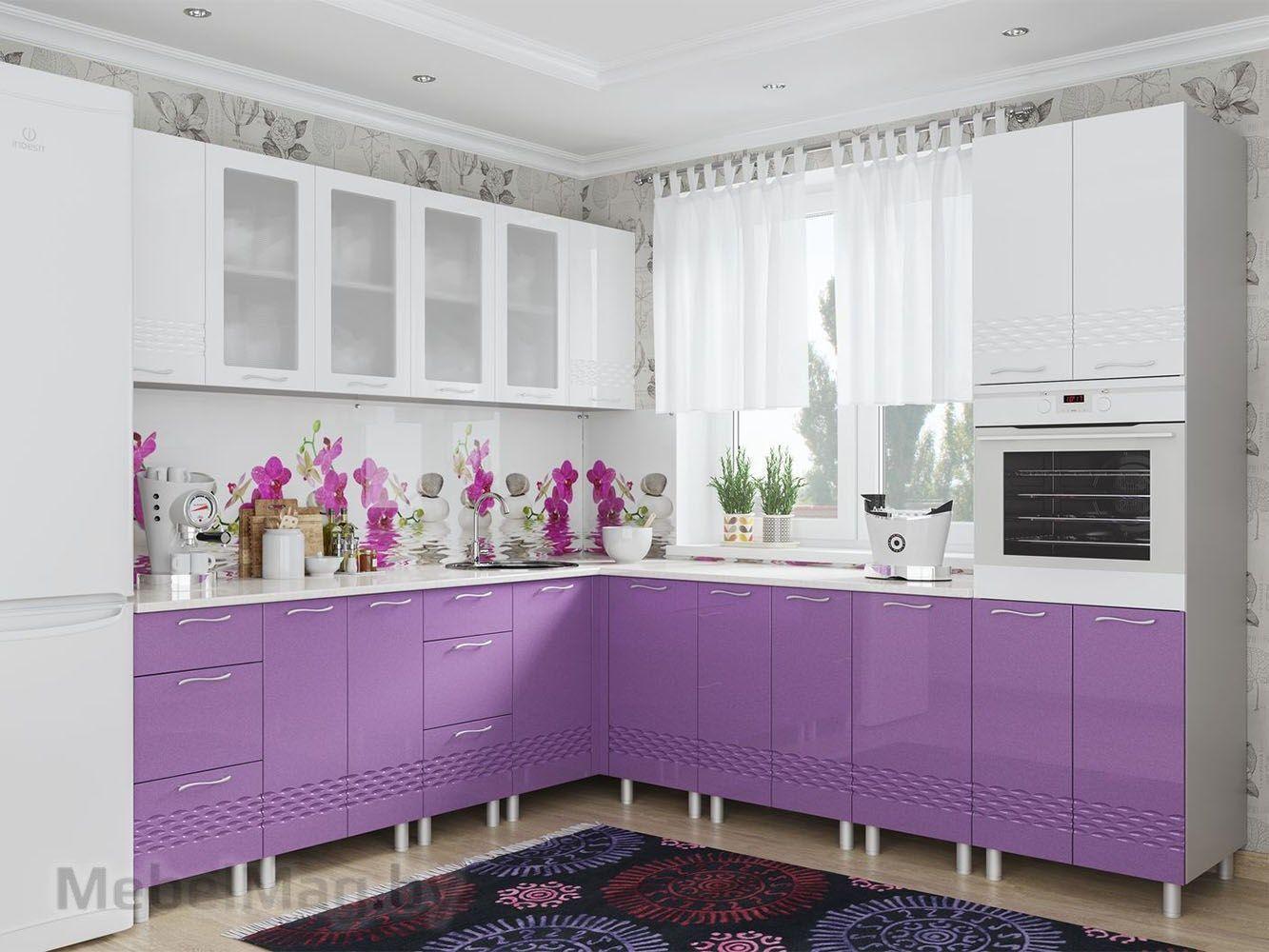 Кухня Волна - Фиолетовый металлик