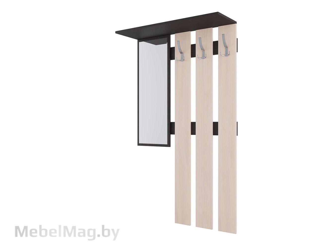 Вешалка с зеркалом Дуб Венге/Дуб млечный - Прихожая №2