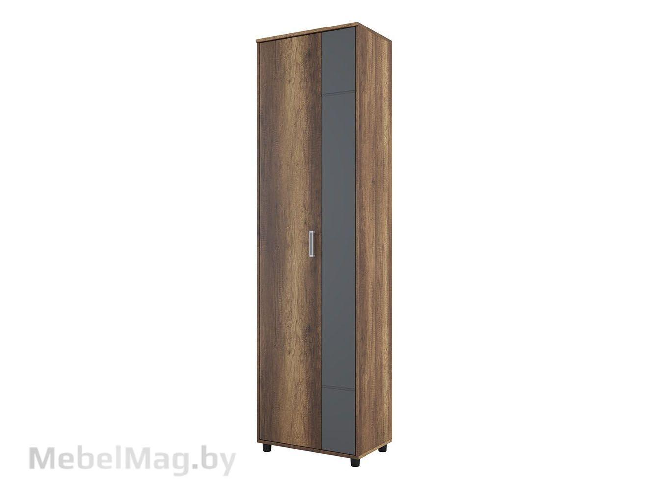 Шкаф двухстворчатый Дуб Каньон/МДФ серый - Коллекция Визит 1