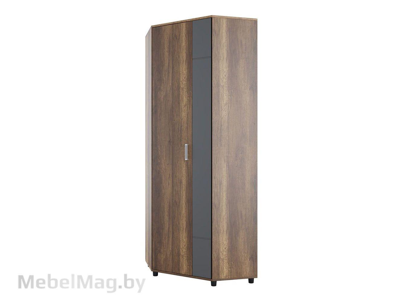 Шкаф угловой Дуб Каньон/МДФ серый - Коллекция Визит 1