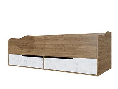 Кровать-диван с ящиками 0,9x2,0 Гикори тёмный/Белый - Гарвард