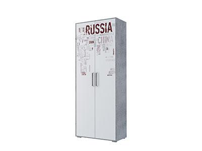 Шкаф двухстворчатый комбинированный Цемент св./Белый - Коллекция Грей
