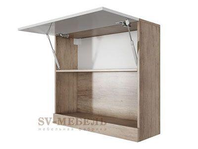 Шкаф навесной горизонтальный 800 Каньон св./Белый глянец - Ницца