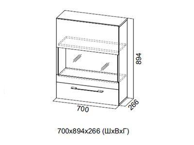 Шкаф навесной гориз. 700 Галифакс табак/Белый глянец - Коллекция Ницца