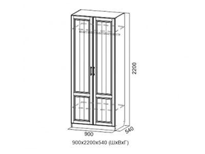 Шкаф двухстворчатый Дуб Сонома/Лиственница светлая - Прованс 1