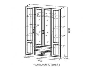 Шкаф четырёхств. Дуб Сонома/Мускат структурный - Коллекция Прованс 1