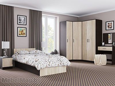 Спальня Эдем 5 - Венге/Сонома набор 2