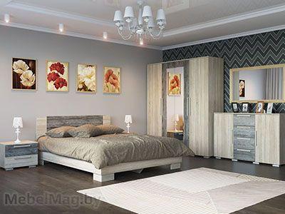 Спальня Лагуна 2 - Дуб Сонома/Сосна Джексон набор 1