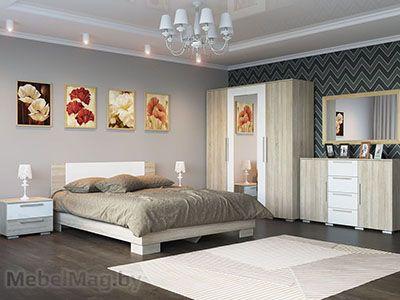 Спальня Лагуна 2 - Дуб Сонома/Белый глянец набор 1