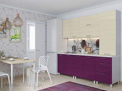Кухня Лаура Ваниль/Баклажан (2,1м) v2