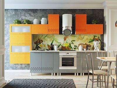 Кухня Волна - Графит/Оранж
