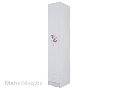 Пенал с ящиком Ясень/ белая матовая/Цветы - Коллекция Акварель 1