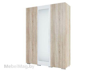 Шкаф трехстворчатый Дуб Сонома/Белый Глянец - Коллекция Лагуна 2