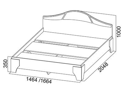 Кровать двойная 1,6x2,0 Ясень Шимо светлый/тёмный - Коллекция Лагуна 5