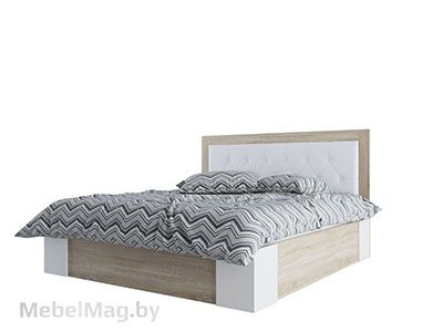 Кровать двойная Универ-ая 1,8x2,0 Дуб Сонома/Жемчуг - Лагуна 6