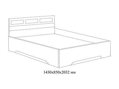 Кровать двойная 1,4x2,0 Дуб Венге/ Дуб Млечный - Эдем 2