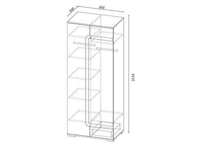 Шкаф комбинированный Дуб сонома/Белый глянец - Коллекция Нота 25