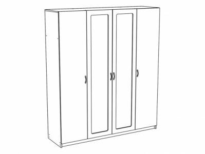Шкаф 4-х створчатый ШК-914 Дуб белёный - Спальня Эльза