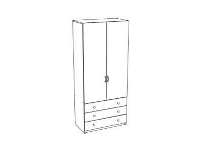 Шкаф 2-х створчатый бельевой с ящиками ШК-915 Дуб белёный - Эльза