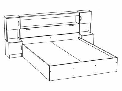 Кровать с закроватным модулем КР-552 Ясень шимо св. - Спальня Бася