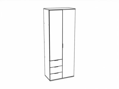 Шкаф 2-х створчатый с ящиками ШК-822 Белый - Коллекция Терра