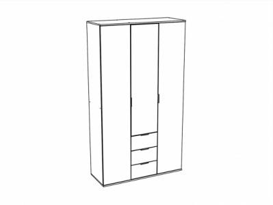 Шкаф 3-х створчатый с ящиками ШК-823 Белый - Коллекция Терра