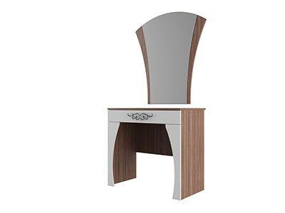 Стол туалетный с зеркалом Ясень шимо темный/Жемчуг - Лагуна 7
