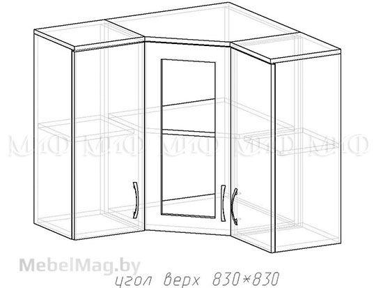 Угол верх 830х830 - Кухня Фортуна фотопечать Бабочки