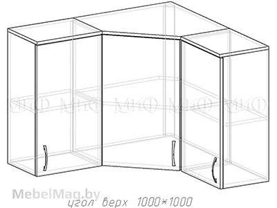 Угол верх 1000х1000 - Кухня Фортуна фотопечать Бабочки