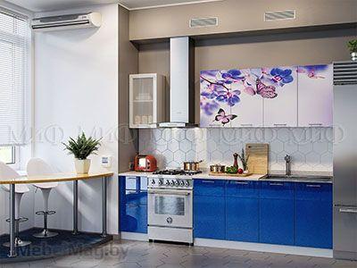 Кухня Техно с фотопечатью (синий) вид 3