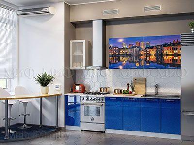 Кухня Техно с фотопечатью (синий) вид 4