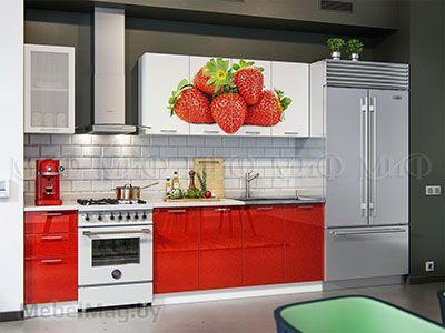 Кухня Техно (красный) вид 17