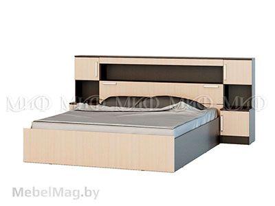 Кровать 1,6 м с надстройкой с тумбами - Бася