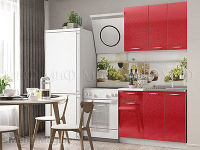 Кухня Техно (красный) вид 4