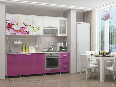 Кухня Орхидея сиреневая вид 1
