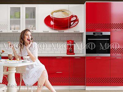 Кухня Техно (красный) вид 8