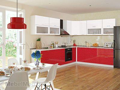 Кухня Техно (красный) вид 2